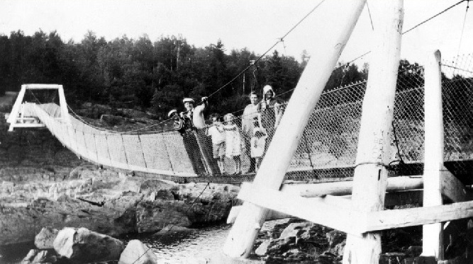 Swinging Gate Bridge at Jay Cooke Park 1920s