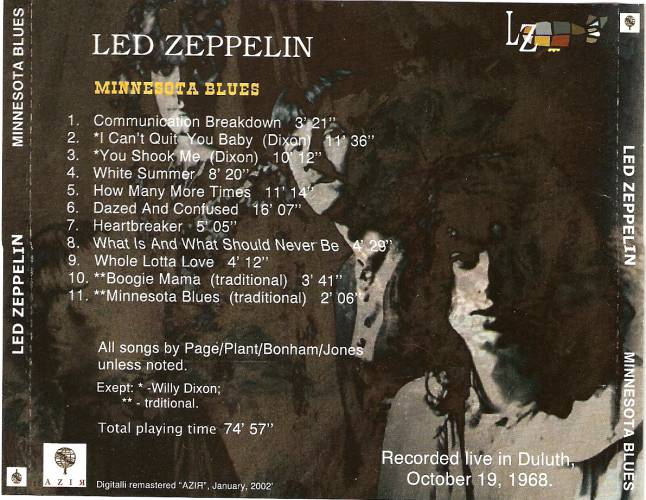 led zeppelin live in duluth oct 19 1968 perfect duluth day. Black Bedroom Furniture Sets. Home Design Ideas